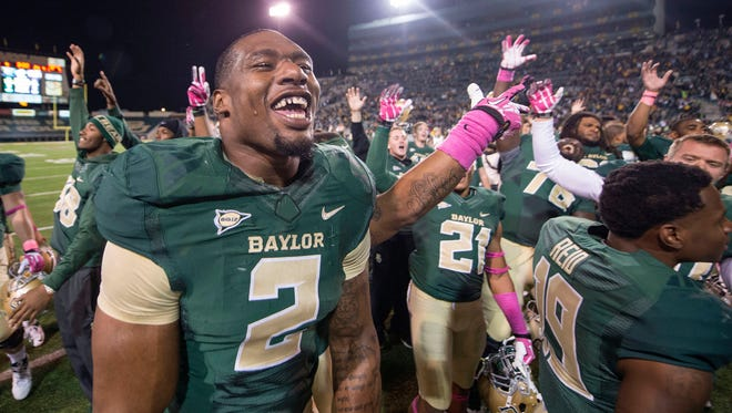 Baylor defensive end Shawn Oakman (2) and his Bears teammates have had plenty to celebrate this season, but questions remain because of their weak schedule.