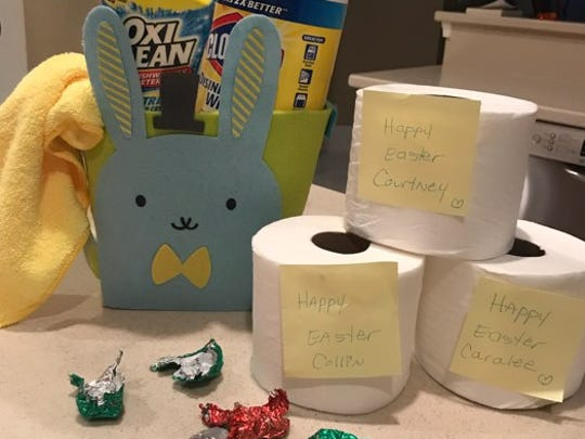 Gayle Conner, of Palm City, has prepared an Easter and April Fools' Day surprise for her three kids.