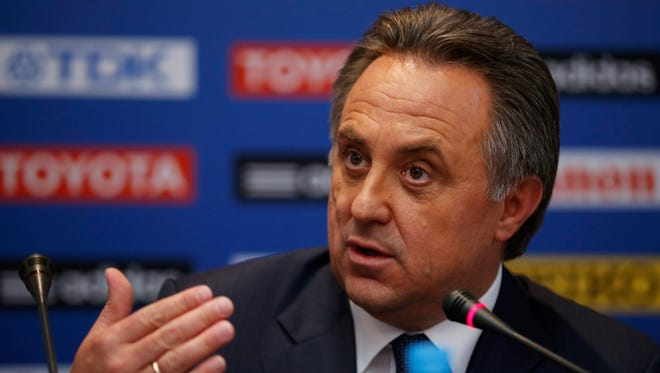 Russian sports minister Vitaly Mutko speaks during a news conference at a hotel in Moscow, Thursday, Aug. 8, 2013. The IAAF athletics World Championships begin Saturday.