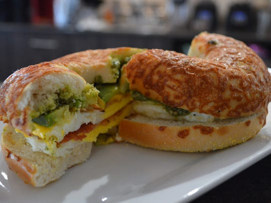 The pesto breakfast sandwich at Caffeinated Café in