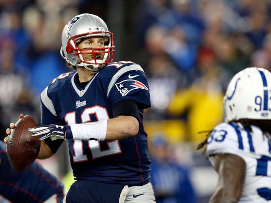 File photo of New England Patriots quarterback Brady throws a pass against the Indianapolis Colts in the AFC Championship Game in Foxborough