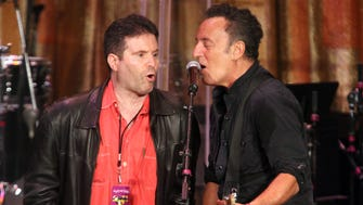 Bob Benjamin and Bruce Springsteen at the Paramount Theater for the 2015 Light of Day.