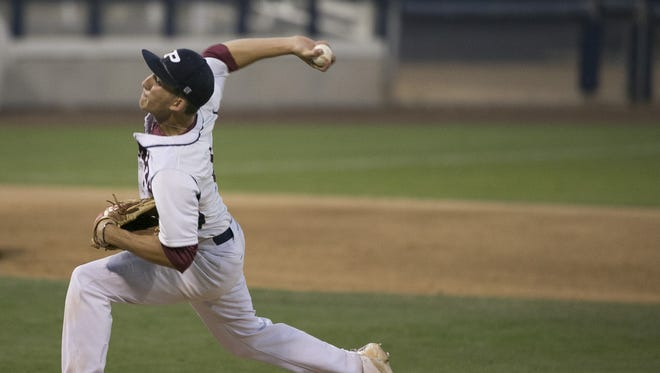 Perry's Beau Brieske (4) pitches against Campo Verde during the State Baseball Tournament at Maryvale Baseball Park on May 5, 2016 in Phoenix, Ariz.