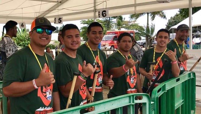 Paddlers from Guatdian Tasi Men's Open team include, from left, John Sablan, Collin Murphy, Aaron Ramirez, Micah Perez, Matt Savares and Eric Aquai.
