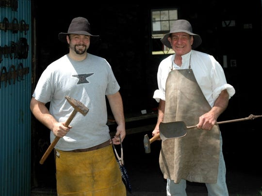 Richard & Richard Brusco, metallurgist and blacksmiths from Brookside (Mendham), will be working in the blacksmith's shop. They will alternate between hammering red-hot metal and interpreting the process.