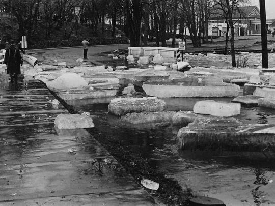 Huge chunks of ice covered Riverside Avenue in Sartell after a massive ice jam broke apart in April 1965.