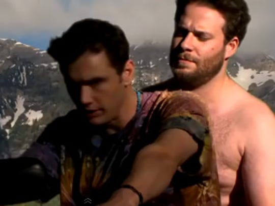 "James Franco and a shirtless Seth Rogen star in place of Kanye West and Kim Kardashian in their sendup of the music video for ""Bound 2""!"