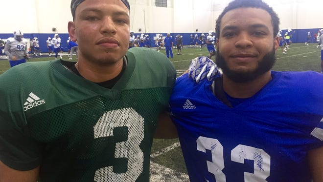 Chris Rowland, left, was one of Tennessee State's best players on offense and special teams last year, and his older brother Seth hopes to get more playing time as a running back this season.