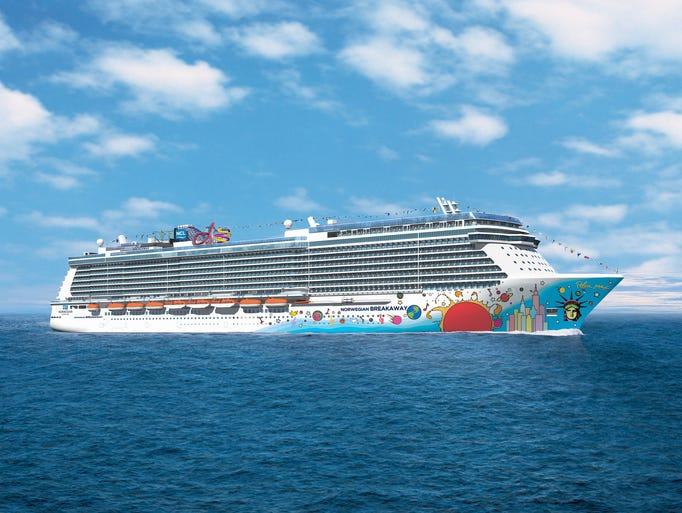 The Norwegian Breakaway cruises through the waters