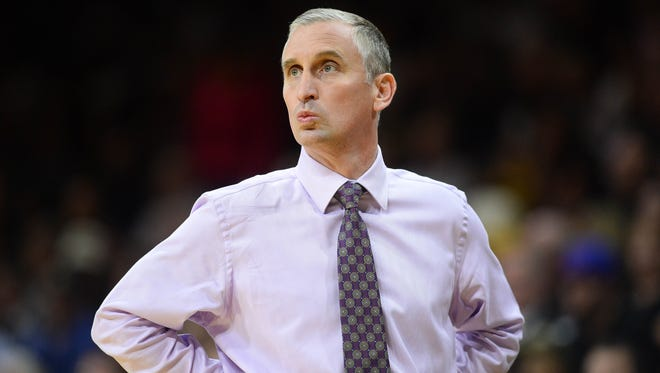 Feb 28, 2016; Boulder, CO: Arizona State Sun Devils head coach Bobby Hurley during the first half against the Colorado Buffaloes at the Coors Events Center.