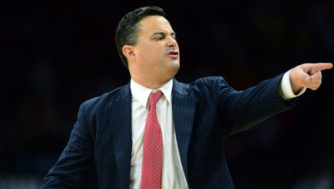 Jan 6, 2018; Boulder, CO, USA; Arizona Wildcats head coach Sean Miller calls out in the first half against the Colorado Buffaloes at the Coors Events Center. Mandatory Credit: Ron Chenoy-USA TODAY Sports
