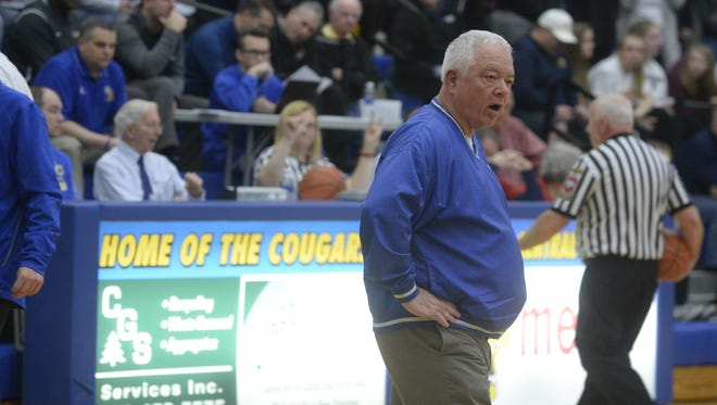 Union County assistant coach Roger Bowling during the IHSAA Class 2A boys basketball regional semifinal at Greenfield-Central High School Saturday. March 10, 2018. Scecina won 56-42.