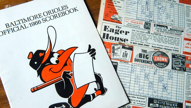 My Dad, Bud Bodani, lived for baseball growing up in Baltimore in the 1950s, mostly playing away the days at Clifton Park. But he cherished the times he got to see his Orioles. He hand-scored his programs, like the one on the left from the O's World Series season of 1966.