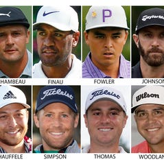 FILE - These are recent file photos showing members of the U.S. Presidents Cup golf team, to be played Dec. 12-15, 2019, at Royal Melbourne Golf Club in Australia. From top left are: Patrick Cantlay, Bryson DeChambeau, Tony Finau, Rickie Fowler, Dustin Johnson, Matt Kuchar, Patrick Reed, Xander Schauffele, Webb Simpson, Justin Thomas, Gary Woodland and Tiger Woods. (AP Photo/File