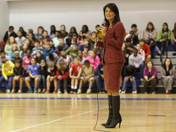 South Carolina Gov. Nikki Haley speaks to students about bullying at Leslie Stover Middle School in Elgin on Nov. 1.