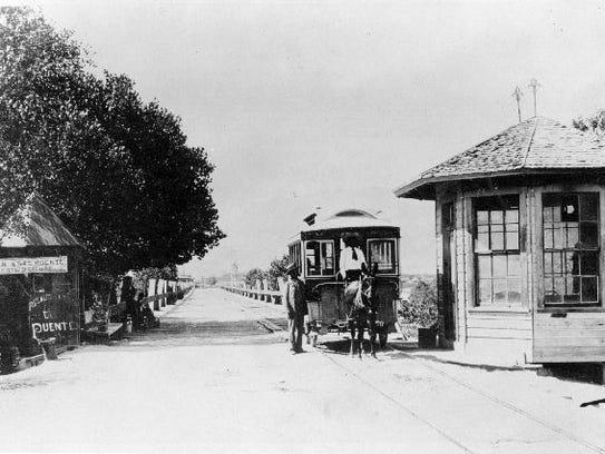 "Santa Fe Street Bridge near""Old El Paso"" circa 1896."