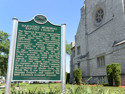 The Michigan historical marker at Hartford Memorial