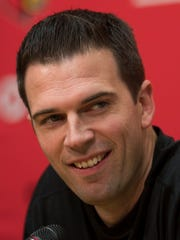 U of L interim head basketball coach, David Padgett, speaks with media during a press conference at the Yum practice facility on the U of L campus Wednesday. Oct. 4, 2017