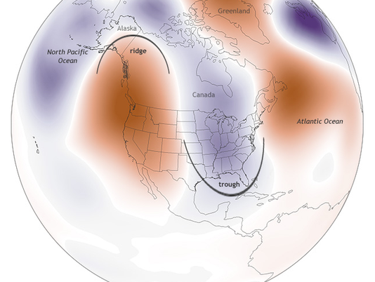 ridge and trough cold snap pattern jet stream