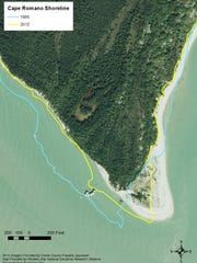 A graphic created by the Rookery Bay National Estuarine Research Reserve shows the extent of erosion at the dome house between 1995 and 2014.
