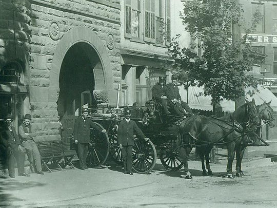 Richmond Fire Department Hose House No. 1 horses and firemen from early in the 20th century, stand proudly at what is now the site of the Firehouse BBQ & Blues at 400 North Eighth & D Street.