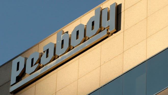 The Peabody Energy headquarters in St. Louis, Mo., is pictured on Oct.19, 2009. Peabody Energy, hurt by weak demand for coal, says it did not have the cash to pay a debt payment due Tuesday, and warned that it may have to file for Chapter 11 bankruptcy protection.