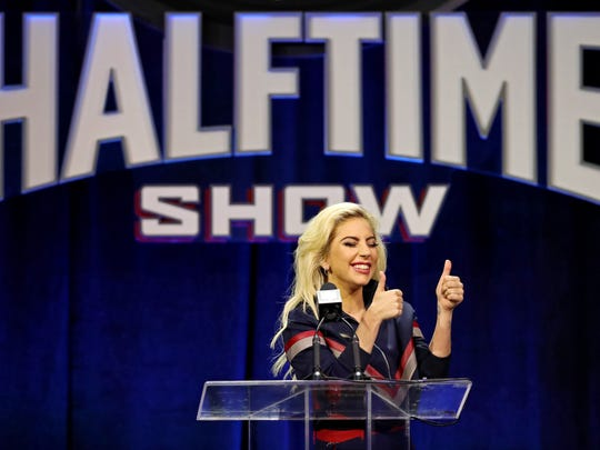 Lady Gaga speaks to the media during the Super Bowl LI halftime show press conference at Media Center.