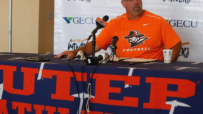 UTEP coach Sean Kugler speaks at his weekly press conference Monday as the Miners open Rice week.
