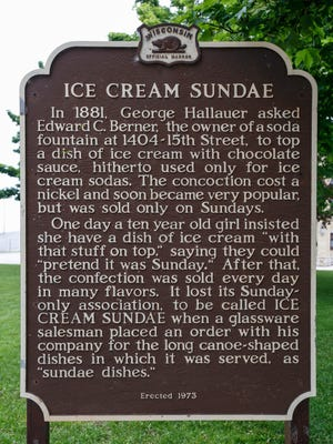 A Wisconsin Historical Society marker commemorates the birthplace of the ice cream sundae in Two Rivers.
