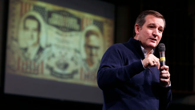 Republican presidential candidate Ted Cruz speaks Saturday, Jan 23, 2016, at a campaign rally with conservative personality Glenn Beck at Faith Baptist Bible College in Ankeny.