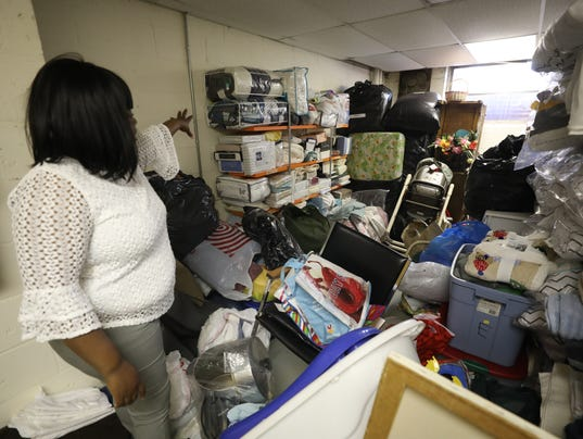 Donations for refugees are stored at this facility of the Catholic Charities of the Newark Archdiocese. The large amount of donations were collected for an expected large influx of refugees whose numbers have decreased under President Trump.