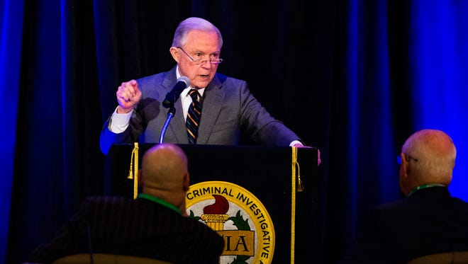 Attorney General Jeff Sessions addresses the Association of State Criminal Investigative Agencies on May 7, 2018, at the Scottsdale Resort at McCormick Ranch.