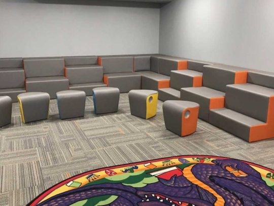 A portion of the new learning commons at Edgewood Elementary