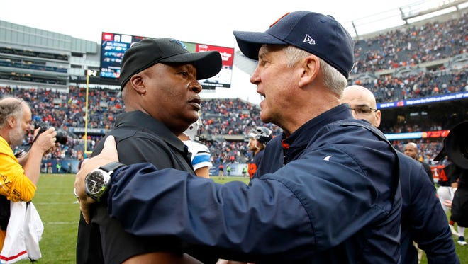 Lions head coach Jim Caldwell and Bears head coach John Fox greet each other after the Bears' 17-14 win Oct. 2, 2016 in Chicago.