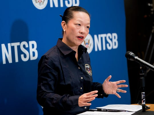 National Transportation Safety Board Member Bella Dinh-Zarr speaks at a news conference at the National Transportation Safety Board headquarters, Sunday.
