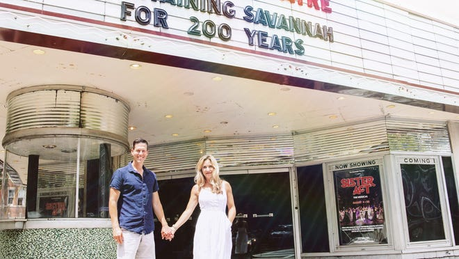 Matthew and Michelle Meece stand in front of the Savannah Theater, located at 222 Bull St. Stay tuned to the Savannah Theater Facebook page as well their website for their return to the stage and new cast.