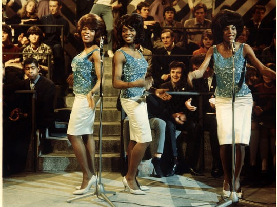Martha Reeves (right) and the Vandellas during a 1965 TV performance