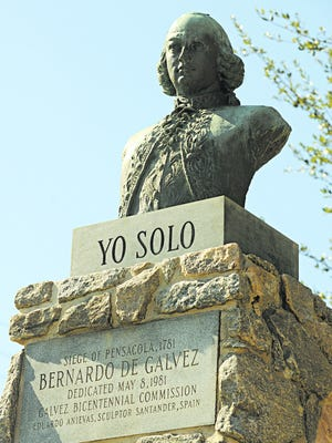 A bust of Bernardo de Galvez stands at the Fort George site on Palafox Street.