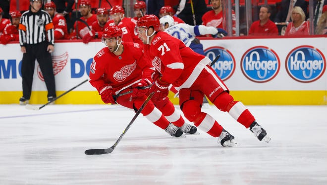 Red Wings center Dylan Larkin (71) skates with the puck in the first period against the Lightning on Monday, Oct. 16, 2017, at Little Caesars Arena. Mandatory Credit: Rick Osentoski-USA TODAY Sports