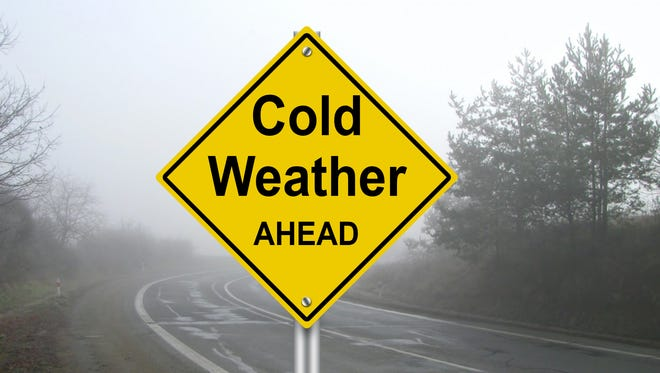 "A sign reading ""Cold Weather AHEAD."""