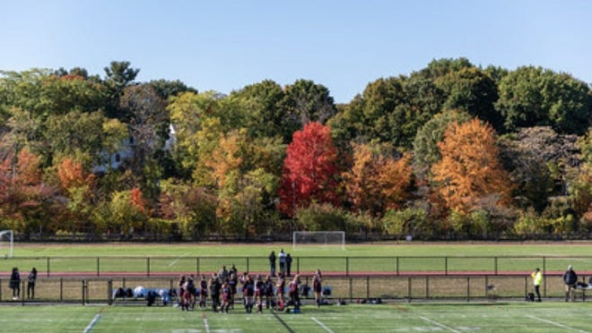 Belmont Junior Varsity girls field hockey team meeting during half time with October trees in the back.