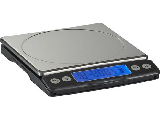 This OXO scale with pull-out display will weigh items up to 11 pounds, and costs about $50.