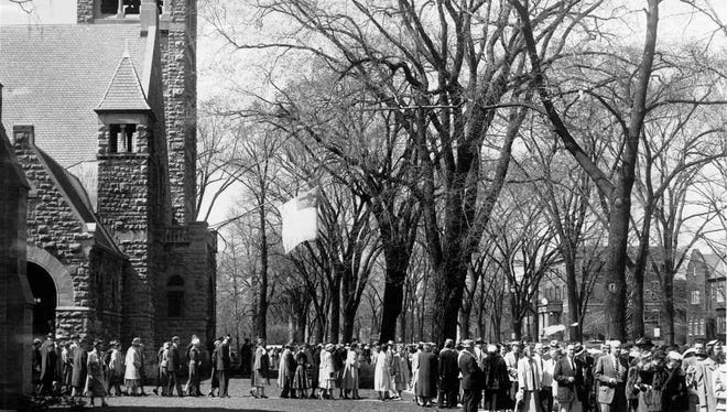 From the Archive: April 11, 1955: A Part of Rochester's Own Easter Parade....Throngs are shown at the Third Presbyterian Church on East Avenue 4/10/1955. Rochesterians turned out at all churches in perhaps record numbers for Easter Services.