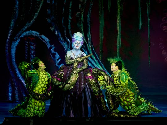 "Jennifer Allen, Brandon Roach and Frederick Hagreen in Disney's ""The Little Mermaid,: which opens Oct. 24 in Rochester."