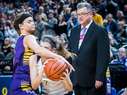 Vincennes Rivet coach Rick Marshall watches from the sideline during the state championship game on Feb. 24, 2018. The Patriots (29-0) face Marquette Catholic in the Class 1A state final on Saturday.