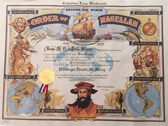 Don Merry received a certificate when he completed the around the world journey.