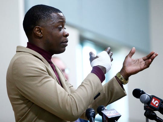 James Shaw Jr. speaks during a news conference on the Waffle House shooting Sunday, April 22, 2018, in Nashville. Shaw wrestled the gun away from the suspect.