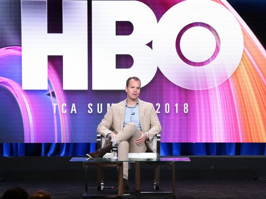 HBO programming president Casey Bloys speaks onstage at the Television Critics Association summer press tour Wednesday in Beverly Hills, California.
