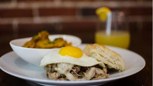 The Jefferson Street Pub's pulled pork biscuit is served