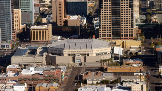 An aerial view of the downtown Phoenix skyline on Jan. 3, 2013.